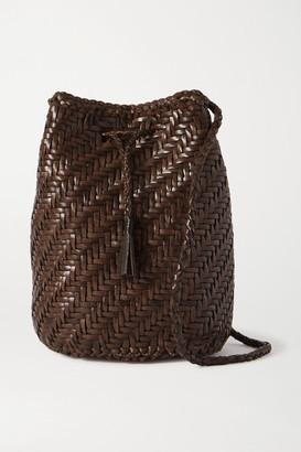 DRAGON DIFFUSION Pom Pom Double Jump Woven Leather Bucket Bag - Dark brown