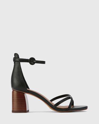 Wittner - Women's Black Strappy sandals - Nakita Leather Curve Heel Sandals - Size One Size, 41 at The Iconic
