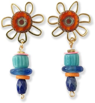 Mixed Media Stack Flower Earrings