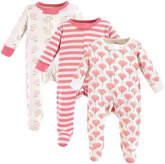 Luvable Friends Girls' Footies Tulip - Pink Stripe Organic Cotton Bodysuit Set - Newborn & Infant