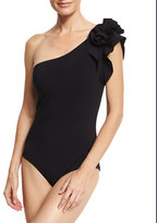 La Petite Robe di Chiara Boni Chrysa One-Shoulder Floral Ruffle One-Piece Swimsuit, Black