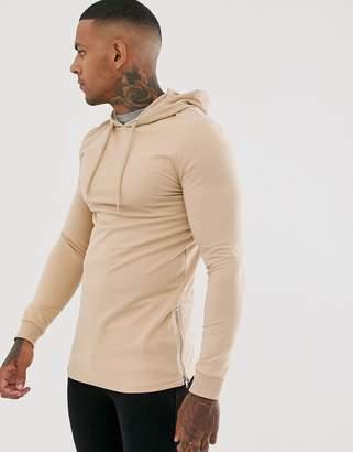 BEIGE Asos Design ASOS DESIGN muscle longline hoodie with side zips in