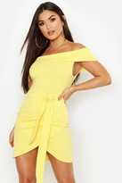 boohoo Off The Shoulder Wrap Detail Bodycon Dress