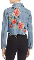 Sunset & Spring Cropped Embroidered Denim Jacket - 100% Exclusive
