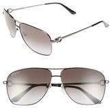 Salvatore Ferragamo Men's 61Mm Navigator Sunglasses - Shiny Dark Gunmetal