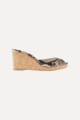 Jimmy Choo Almer 80 Snake-effect Leather Wedge Sandals - Snake print