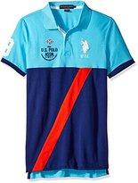 U.S. Polo Assn. Men's Color Block Diagonal Stripe Pique Polo Shirt