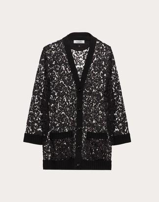 Valentino Wool And Heavy Lace Cardigan Women Black M