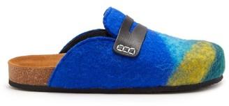 J.W.Anderson Striped Backless Felt Loafers - Womens - Blue Multi