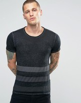 Replay Burnout Stripe T-Shirt in Black