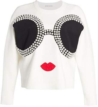 Alice + Olivia Gleeson Embellished Stace Face Pullover