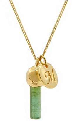 Lee Renee Green Tourmaline Pendant & Initial Necklace