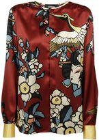 DSQUARED2 Cherry Blossom Collarless Print Shirt