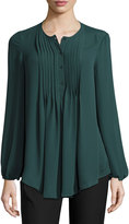 Max Studio Pintucked Georgette Blouse, Evergreen