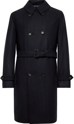 Beams Double-breasted Wool And Cashmere-blend Trench Coat - Blue