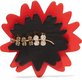 Marni Leather, Gold Tone And Crystal Brooch - Red