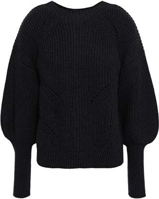 Joie Pointelle-trimmed Ribbed Cotton And Cashmere-blend Sweater