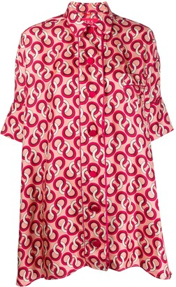 F.R.S For Restless Sleepers Silk Geometric-Print Blouse