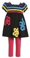 Bonnie Jean Girls: Newborn Knit Ruched Flower Legging Set