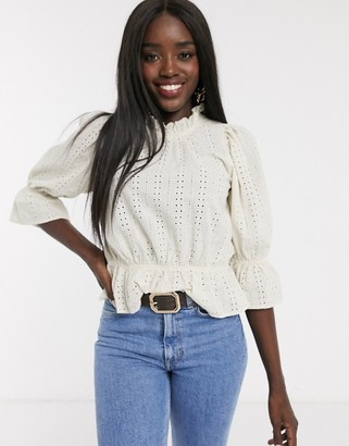 Pieces high neck blouse and peplum in white broderie