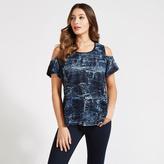 Apricot Blue Distressed Print Cold Shoulder Top