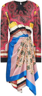 Etro Gathered Printed Hammered Silk-satin Mini Dress