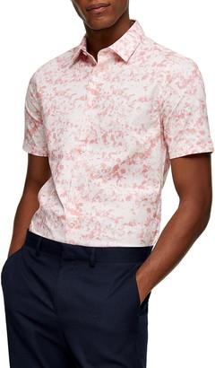 Topman Marble Short Sleeve Button-Up Shirt
