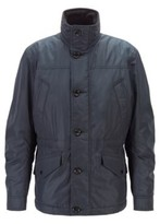 HUGO BOSS - Water Repellent Quilted Field Jacket With Packable Hood - Dark Blue