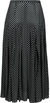 Rixo Polka Dot Print Midi Skirt