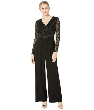 Tahari ASL Long Sleeve Stretch Lace and Crepe Jumpsuit