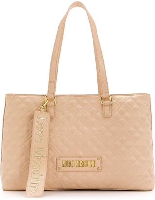 Love Moschino large quilted logo tote