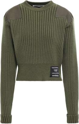 Proenza Schouler Pswl Appliqued Cropped Ribbed Cotton-blend Sweater
