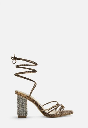 Missguided Nude Snake Print Lace Up Diamante Heels