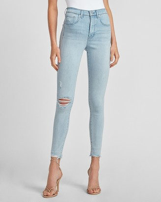 Express High Waisted Ripped Raw Hem Skinny Jeans