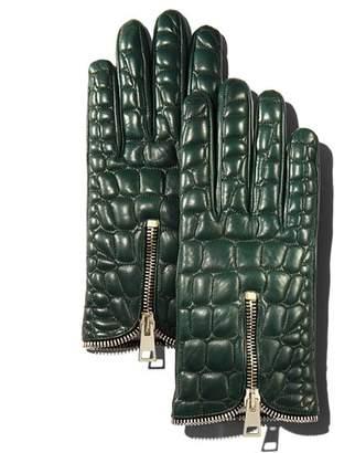 Portolano Croc-Pattern Leather Gloves