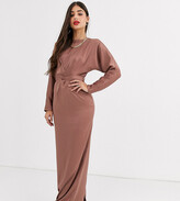 Asos DESIGN Tall maxi dress with batwing sleeve and wrap waist in satin