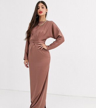 Asos Tall DESIGN Tall maxi dress with batwing sleeve and wrap waist in satin-Pink