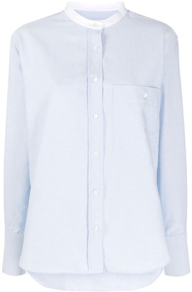 Closed Contrasting Band Collar Shirt