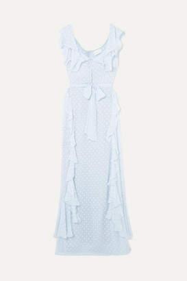 Alice McCall Moon Talking Ruffled Fil Coupé Maxi Dress - Light blue