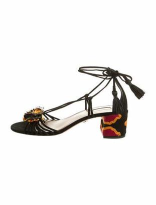 Aquazzura Embellished Suede Sandals Black