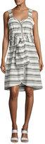 Derek Lam 10 Crosby Sleeveless Striped Tie-Front Poplin Dress, White