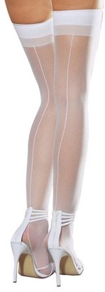 Dreamgirl Sheer Thigh High with Backseam 7031 Black,White