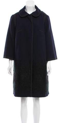 Andrew Gn Lace-Accented Wool Coat