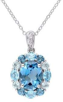 Sonatina Sterling Silver & London, Swiss, Sky-Blue & White Topaz Cluster Floral Necklace