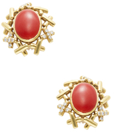 Cellino Oxblood Coral & 0.40 Total Ct. Diamond Earrings