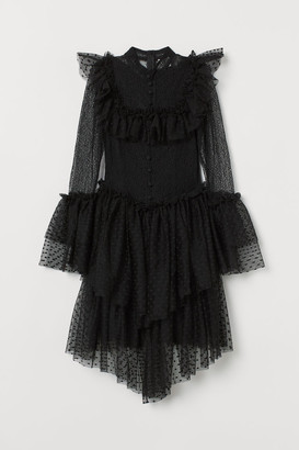 H&M Tulle-skirt Lace Dress - Black