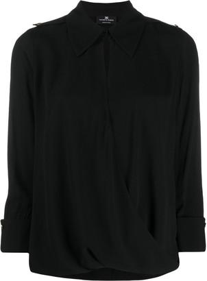 Elisabetta Franchi Cropped Sleeve Wrap Front Blouse