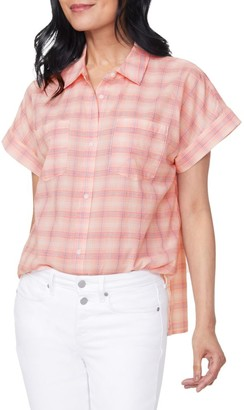 NYDJ Plaid Short-Sleeve Shirt