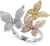 Effy Trio by EFFYandreg; Diamond Pavandeacute; Butterfly Ring (5/8 ct. t.w.) in 14K Yellow, White and Rose Gold