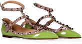 Apple Green/Powder Leather Rockstud Ankle Strap Flats